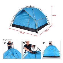 Automatic Tent Beach Tent Two-layer Double Tent 3 Person Leisure Tent 200 * 200 * 140cm 170T polyester fabric Green / Blue(China)