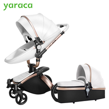 2 in 1 Luxury Baby Stroller With Separate Carrycot Black Frame 360 Degree Rotation Baby Carriage High-landscape Pram For Newborn(China)