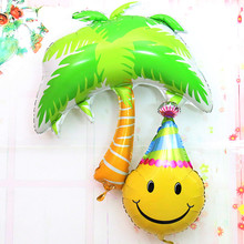 Coconut tree Foil Balloons smile helium balloon Wedding Decoration air balloon inflatable happy birthday balloons party supplies