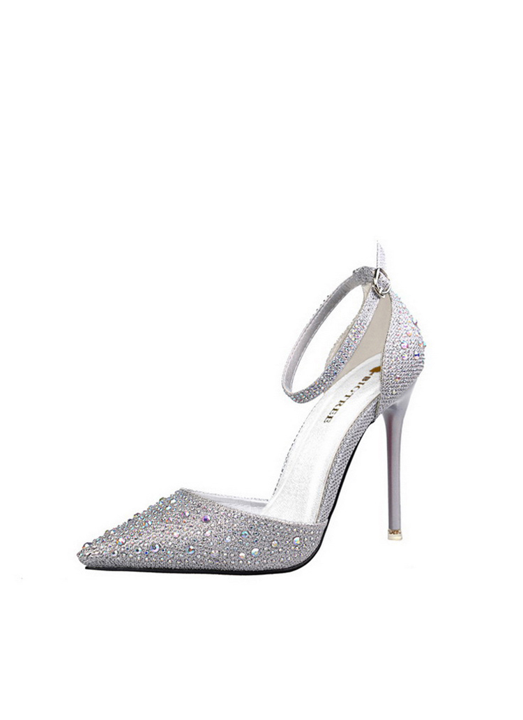 Women Pumps Sexy High Heels Shoes Woman Silver Rhinestone Wedding Shoes High Heels Party Shoes Summer Hight Heels Sandals 17