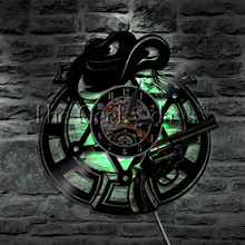 1Piece West World LED Light Sign Hat and Revolver LED Wall Clock Glow in Dark Cowboy Atmosphere Light Wall Lamp(China)