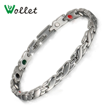 Wollet Jewelry Female Healing Care 5 in 1 Tourmaline Germanium Infrared Ion Magnetic Stainless Steel Bracelet Bangle for Women