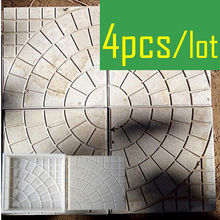4 Pieces/lot Walk Path Brick Cement Maker Concrete Plastic Mold DIY Garden Walking Road Bricks Decoration Round Pattern(China)