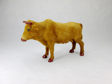 new simulation cow toy plastic&fur lovely yellow cattle doll gift about 23x7x16cm a24