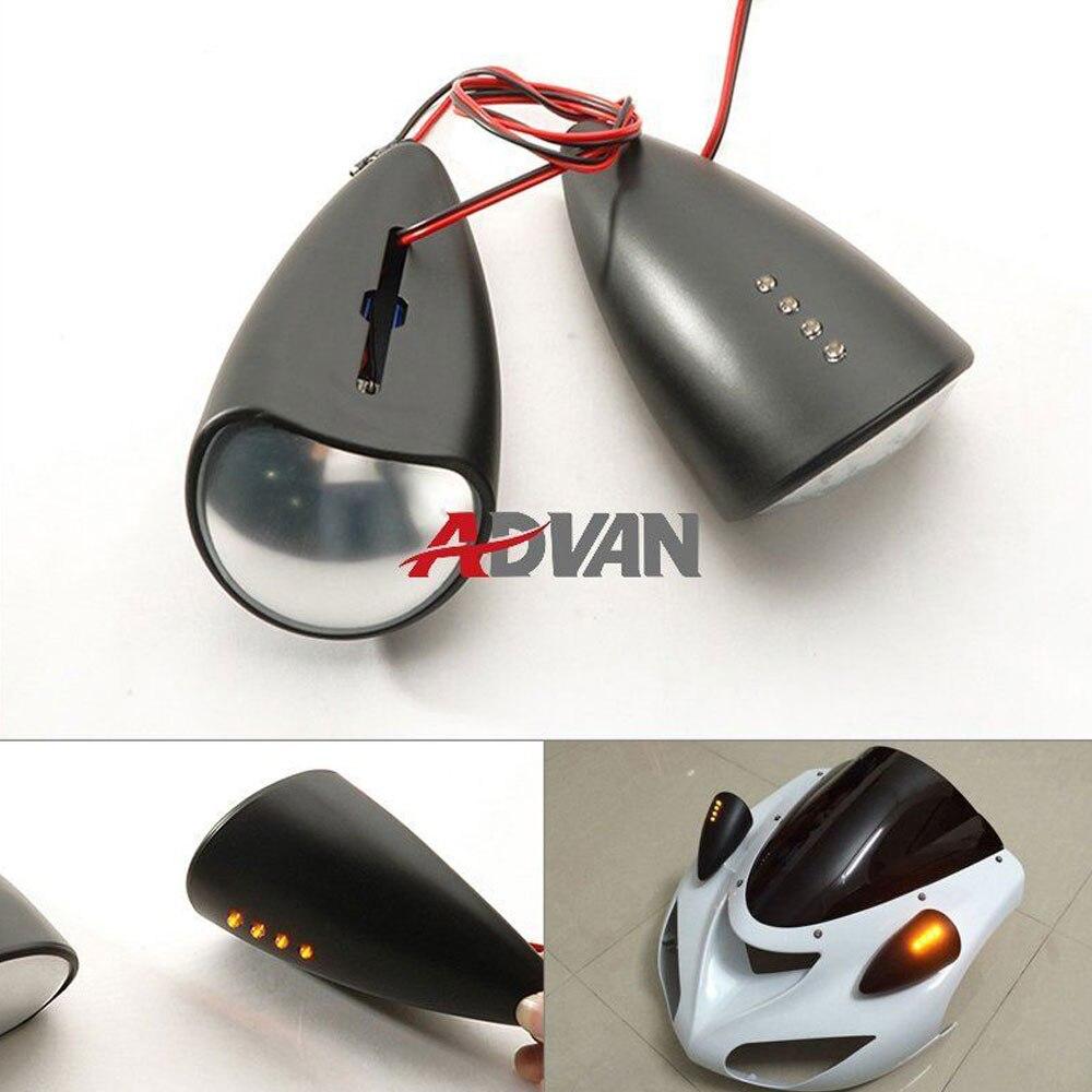 Matt Black Custom LED Mirrors Turn Signals Fit for Kawasaki ZX-6R 03-12 ZX-10R 04-15 <br><br>Aliexpress
