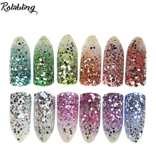 12pcs/lot Shine Nails Glitters Acrylic Powder Dust For Nail Art Colored Glitter Color Acrylic Powder