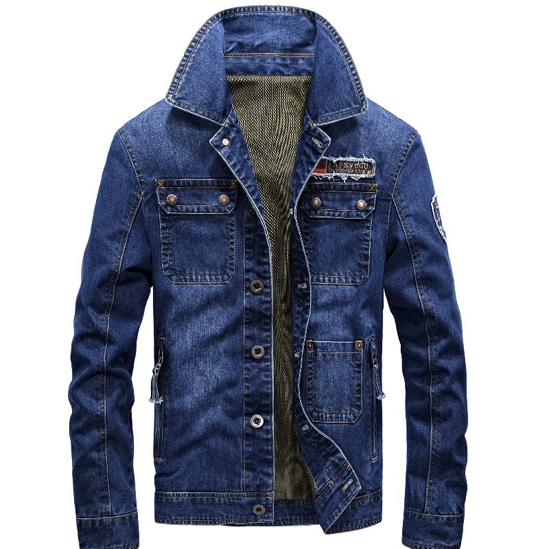 MORUANCLE Mens Casual Cargo Denim Jackets And Coats Slim Fit Jeans Jacket Outerwear For Man Multi Pockets M-4XL Turn Down Collar