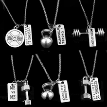 2017 HOT SELL Dumbbell Fitness Charm Necklace Pendant Factory Outlet