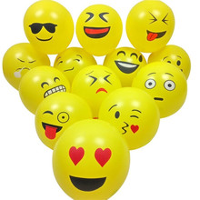 Wholesale 50Pcs 12 Inch Smile Face Emoji Latex Balloons Wedding Decoration Inflatable Air Balls Happy Birthday Party Supplies(China)