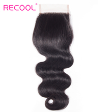 Recool Hair Brazilian Virgin Hair Body Wave Lace Closure Free Part 10-20 Inch 130% Density Natural Human Hair 4x4 Lace Closure(China)