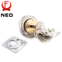 NED Entrance Door Lock Cylinder Brass Copper Core With Cross Keys For Home Gate Furniture Hardware(China)