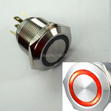 19mm Short Body RED 12V ring led CAR electric metal switch with stainless steel crust(China)