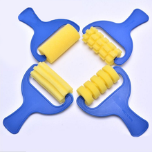 4pcs/set DIY Painting Sponge Brush Set Original Plastic Handle Children Graffiti Drawing Art Supplies Kids Toys Christmas Gifts