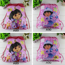 12Pcs New Dora Children School Bags Cartoon Drawstring Backpack Shopping Bag Party Printing Traveling Bags Gift