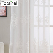 Top Finel New Luxury Embroidered Sheer Curtains Window Tulle Curtains for Living Room Bedroom Kitchen Gauze Voile Curtains White(China)