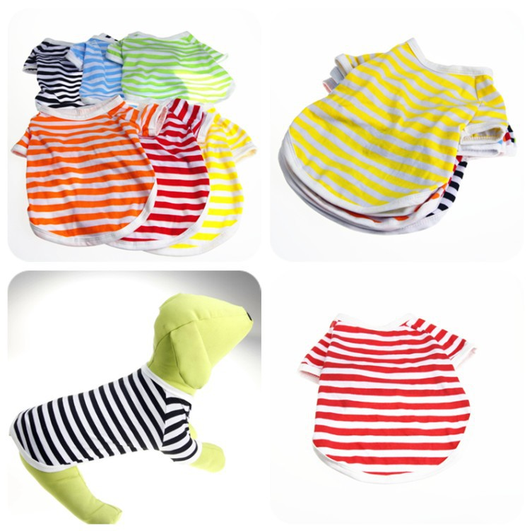 Image Striped Cheap Dog Clothes for Small Dogs clothing Chihuahua Puppy spring summer shih tzu yorkie pet supplies with free shipping