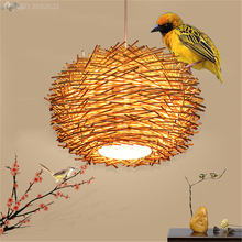 Hand woven rattan Modern High-quality Led Pendant lights,Creative bird nest Hanging lamps restaurant farmhouse Pendant Lamp Deco