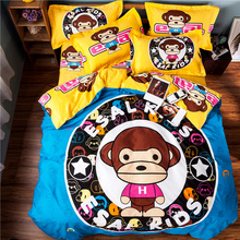 Home Textile A Bathing Ape Bedding Set Cartoon Monkey Bed Linen for Kids Gift Twin Queen Size Duvet Cover Bed Sheet Pillow Cases