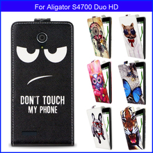 Factory price Fashion Patterns Cartoon Luxury Flip up and down PU Leather Case for Aligator S4700 Duo HD,Free gift