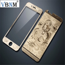 VBNM Premium Dragon Tatoo Tempered Glass Front+Back Mirror Film Screen Protective Skin For iphone 5s 6 6splus Glass(China)