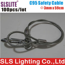 100PCS/LOT 3mm Diameter 59cm Long lighting safety cable steel Stage lighting connector rope cable protection Stainless Steel(China)