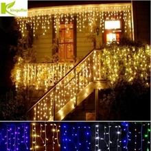 3.5M 96LED 110V 220V LED String Curtain Icicle Lights Xmas Home Garden Festival Party Decoration Wedding Fairy Christmas Lights