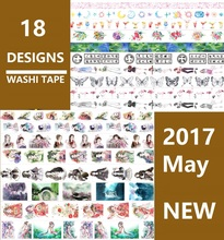 18Designs Flowers/Star/Girls/Butterfly/Feather/Flamingo Japanese Washi Decorative Adhesive DIY Masking Paper Tape Sticker Label