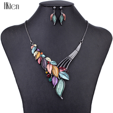 MS1504615 Fashion Jewelry Sets Hight Quality 5 Colors Necklace Sets For Women Jewelry Crystal Resin Unique Leaves Design Gifts