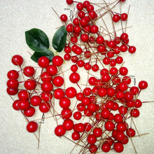100pcs/lot Foreigner Gift Christmas Tree Decor Artifical Foam Small Ball Fruit Artificial Floral Bouquet Fruit Berry(China)