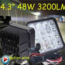 "Free DHL/UPS Ship,4.3"" 48W 3200LM 10~30V,6500K,LED working light;Free ship!Optional wire;motorcycle light,forklift,tractor light(China)"