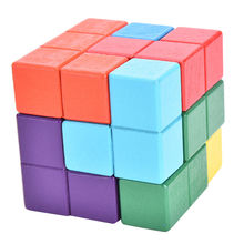 1Pcs Hot Sale Wood Brain Teaser Puzzle Colorful Wooden Kongming Lock Intelligence Cube Lock Game Toys Gift For Kids Wholesale(China)