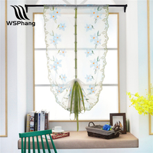 WSPhang 1pc Hot 80cm*100cm Floral Peach Blossom Roman Curtain Tulle Pastoral Voile Panel Window Curtain Livingroom Bedroom Tulle