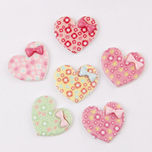 Wholesale 50pcs 25*29mm resin cabochon,Mix color heart shape with bow flat back cabochon for girl phone art DIY015(China)