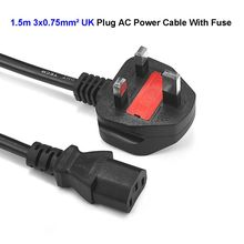50pcs 3 Prong Kettle Lead Power Cable UK Plug IEC C13 Main AC Adapter Power Cord 1.5m 5ft 0.75mm2 For Desktop PC Computer LCD TV