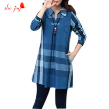 Brand Women Plaid Bloused Vestidos Classic Check Turn Down Collar Blouses Fashion Female Clothings M-XXL Long Sleeve Shirt