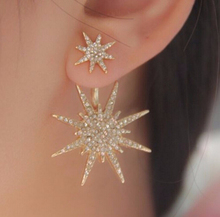 1PCS Gold Plate Exquisite Crystal Rhinestone Starlight Piercing Stud Earrings For Women Party Wholesale Jewelry E264