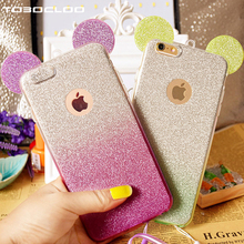 For iPhone X 7 Plus 6 6s 6Plus 5 5S SE 8 Plus Case Soft Ears 3D Shine Bling Glitter Pink Silicone TPU Soft Phone Case Cover