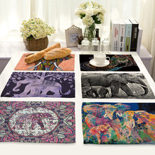 Mandala Elephant Printed Table Napkins for Wedding Party India Hippie Table Napkin Cloth Linen Western Dinner Mat Home Textile