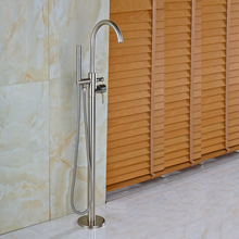 Brushed Nickel Bathroom Floor Mount Bathtub Single Handle with Hand Shower Mixer Taps Free Standing
