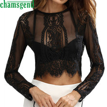 CHAMSGEND Good Deal  2017 New trend  Women Lace Long Sleeve Short Shirt Bustier Sexy Top Zipper T-Shirts  1PC*30