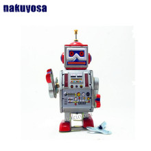 Classic collection Retro Clockwork Wind up Metal Walking Tin repairman robot recall Mechanical toy kids christmas birthday gift(China)