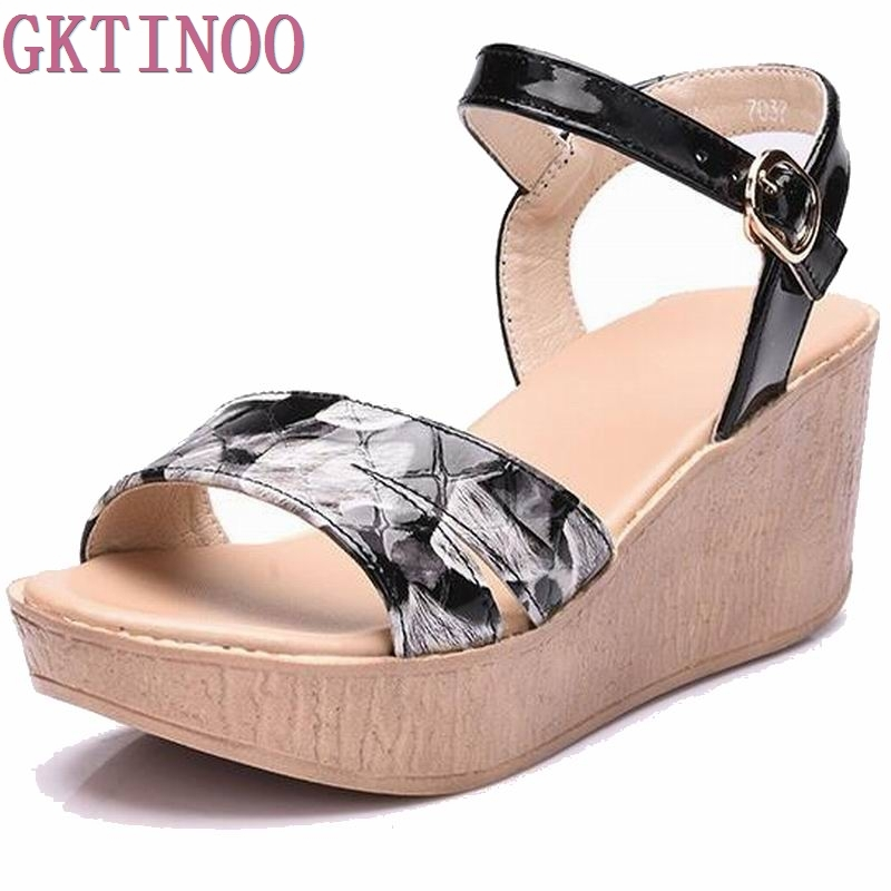 Genuine leather Shoes Women 2017 Summer New Sweet Flowers Buckle Open Toe Wedge Sandals Floral high-heeled Shoes #7037<br>
