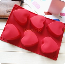 DIY handmade cake molds 6 lattices love heart shape silicone soap mould silicone cake molds CDSM-054(China)