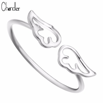 Silver Gold Plated Double Angel Wings Charming Ring Justable Sweet Lovely Jewelry For Women Accessaries anillos Free Shipping