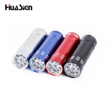 Promotional 9 LED aluminum flashlight household waterproof outdoor riding lights 4 colors convenient and practical mini torch
