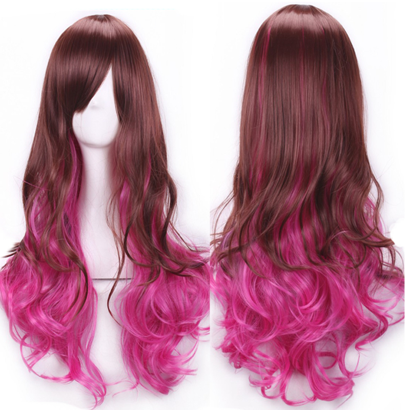 Fashion Harajuku Lolita Womens Girls Long Curly Wavy Hair Pink Mixed Brown Two Tone Cosplay Wig Party Wigs Ombre Wig<br><br>Aliexpress