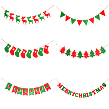 New Home Shop Market Room Decor DIY Merry Christmas Banners Non-woven Fabric Xmas Flags Santa Clause Floral Bunting Decoration