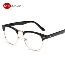 UVLAIK New Fashion Retro Half-frame Glasses Frame Men Women Optical Glasses With Clear Glass Transparent Glasses Women's Frame(China)
