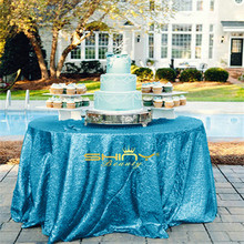 Turquoise Round Sequin Tablecloth 108inches Table Cover Linens Wedding Party Decoration &a(China)