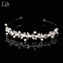 white gold color wedding hair accessories bridal crown design jewelry for women simulated pearl unique string tiara diadem F028